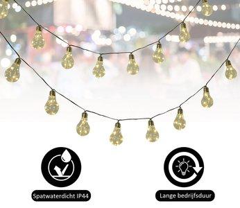 Led Buitenverlichting - Tuinverlichting - Lichtsnoer - Partyverlichting - Set van 2 lichtsnoeren met 20 lampen - Op zonne-energie